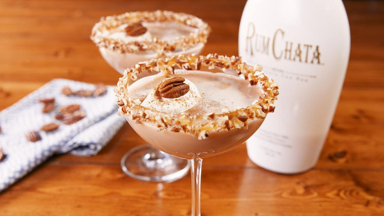 "<p>These martini's might look innocent, but trust us, they're STRONG.</p><p>Get the <a href=""http://www.delish.com/uk/cocktails-drinks/a29698558/pecan-pie-martini-recipe/"" target=""_blank"">Pecan Pie Martini </a>recipe.</p>"