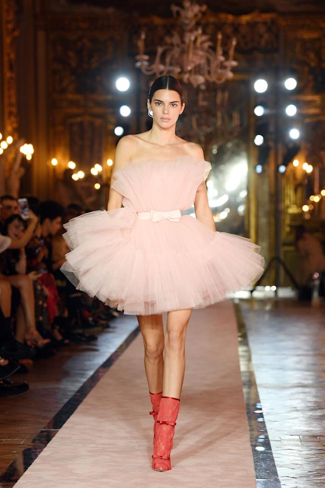 """<p>In one of her most recent runway appearances, Jenner showed off a new design from the buzzy <a href=""""https://www.popsugar.com/fashion/hm-giambattista-valli-runway-photos-46808171"""" class=""""ga-track"""" data-ga-category=""""Related"""" data-ga-label=""""https://www.popsugar.com/fashion/hm-giambattista-valli-runway-photos-46808171"""" data-ga-action=""""In-Line Links"""">Giambattista Valli x H&amp;M collection</a>. </p>"""