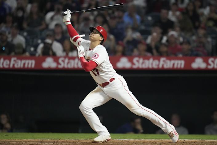 Angels two-way star Shohei Ohtani takes a swing against Boston