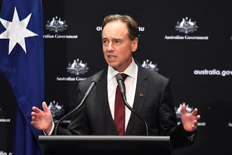 Minister for Health Greg Hunt at a press conference on Wednesday. Source: AAP