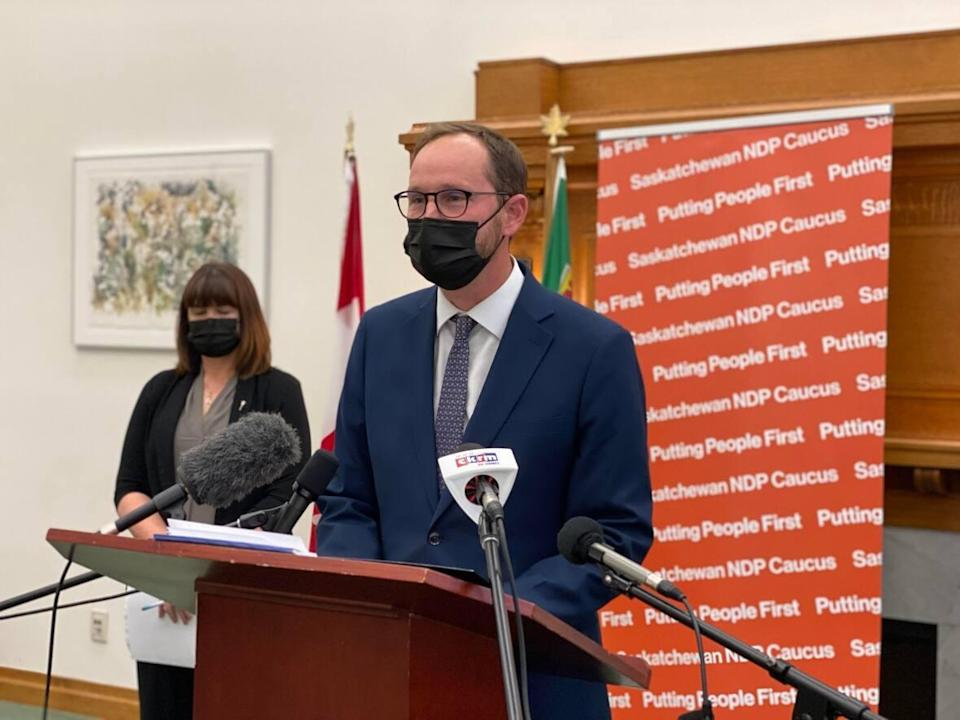 Saskatchewan NDP Leader Ryan Meili is calling on Premier Scott Moe to request health-care workers through the federal government to support those fighting the fourth wave of COVID-19 and to allow health workers to resume their usual work. (Kirk Fraser/CBC - image credit)