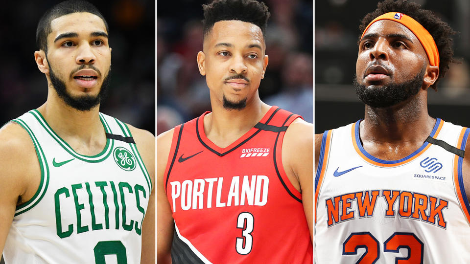 Jayson Tatum, CJ McCollum and Mitchell Robinson, pictured here in action in the NBA.