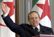 FILE - In this Sunday, Aug. 14, 2005, file photo, Algeria's President Abdelaziz Bouteflika addresses the nations's top officials in Algiers. Former Algerian President Bouteflika, who fought for independence from France in the 1950s and 1960s and was ousted amid pro-democracy protests in 2019 after 20 years in power, has died at age 84, state television announced Friday, Sept. 17, 2021. (AP Photo)