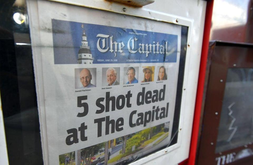 The Capital Gazette of June 29, 2018, is seen in a newspaper vending box in Annapolis, Maryland. (AFP via Getty Images)