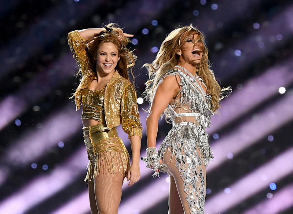 MIAMI, FLORIDA - FEBRUARY 02: Shakira (L) and Jennifer Lopez perform onstage during the Pepsi Super Bowl LIV Halftime Show at Hard Rock Stadium on February 02, 2020 in Miami, Florida. (Photo by Kevin Winter/Getty Images)