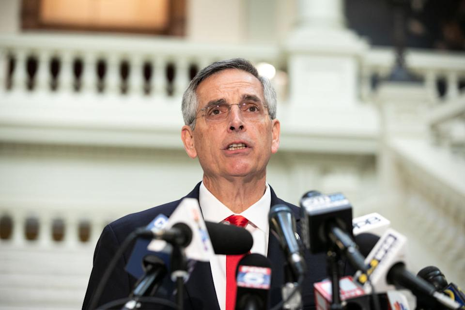 Georgia Secretary of State Ben Raffensperger during a press conference on November 6. Source: Getty