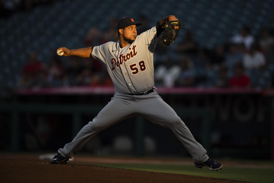 Detroit Tigers starting pitcher Wily Peralta winds up during the first inning of the team's baseball game against the Los Angeles Angels in Anaheim, Calif., Saturday, June 19, 2021. (AP Photo/Kyusung Gong)