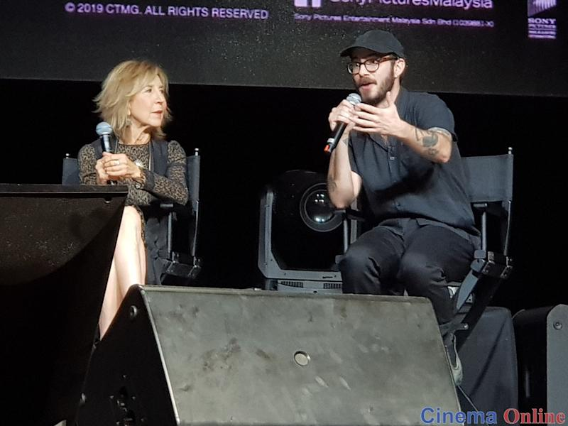 "Actress Lin Shaye with director Nicolas Pesce at the ""The Grudge"" special stage on Day 1 of Comic Fiesta 2019."