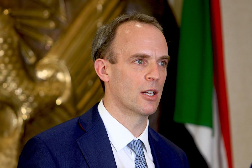 Dominic Raab, ministro de Exteriores británico. (Photo by Mahmoud Hjaj/Anadolu Agency via Getty Images)