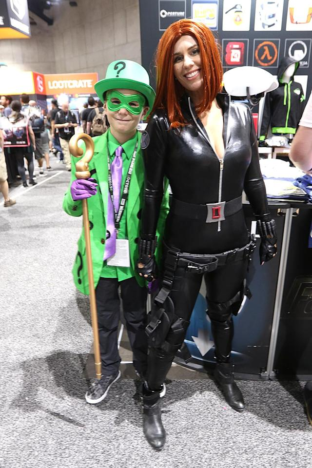 <p>Cosplayers dressed as the Riddler and Black Widow at Comic-Con International on July 20 in San Diego. (Photo: Angela Kim/Yahoo Entertainment) </p>