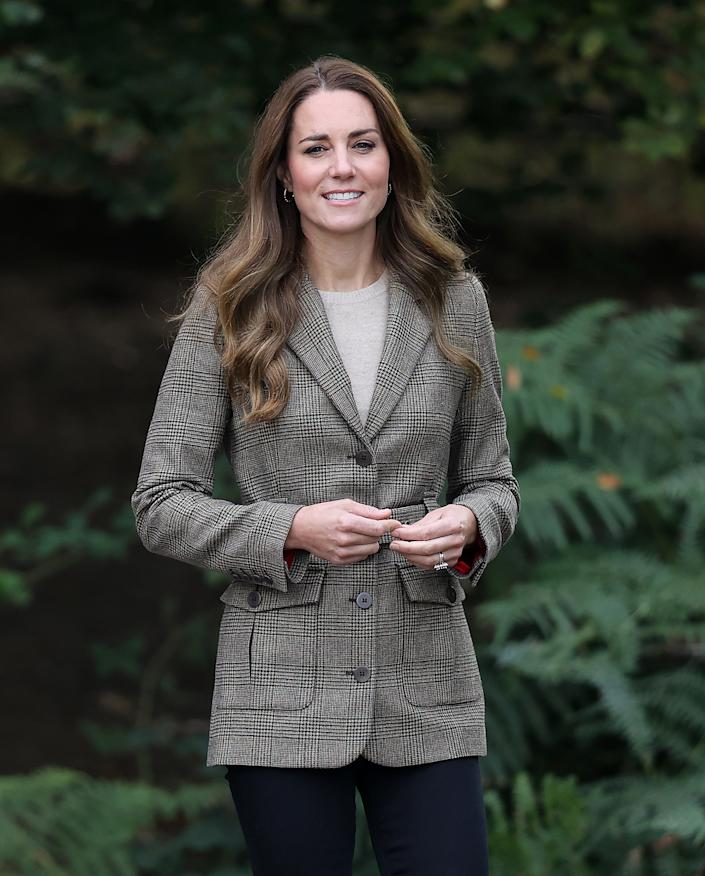 The Duchess of Cambridge wore a tweed blazer by Really Wild on Tuesday 21 September, 2021. (Chris Jackson/Getty Images)