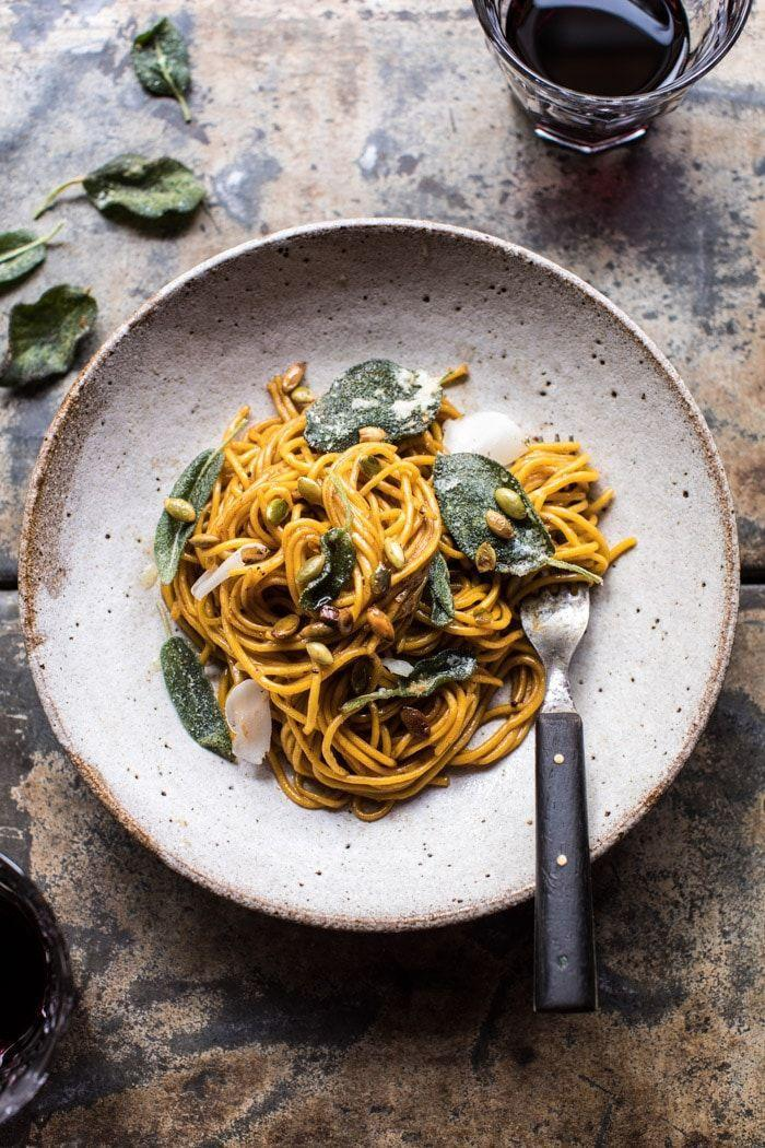 """<p>These homemade noodles are made with just two ingredients—yes, really!—and the entire dish comes together in 30 minutes.</p><p><strong>Get the recipe at <a href=""""https://www.halfbakedharvest.com/2-ingredient-pumpkin-pasta-with-balsamic-sage-brown-butter-sauce/"""" rel=""""nofollow noopener"""" target=""""_blank"""" data-ylk=""""slk:Half Baked Harvest."""" class=""""link rapid-noclick-resp"""">Half Baked Harvest.</a></strong></p>"""