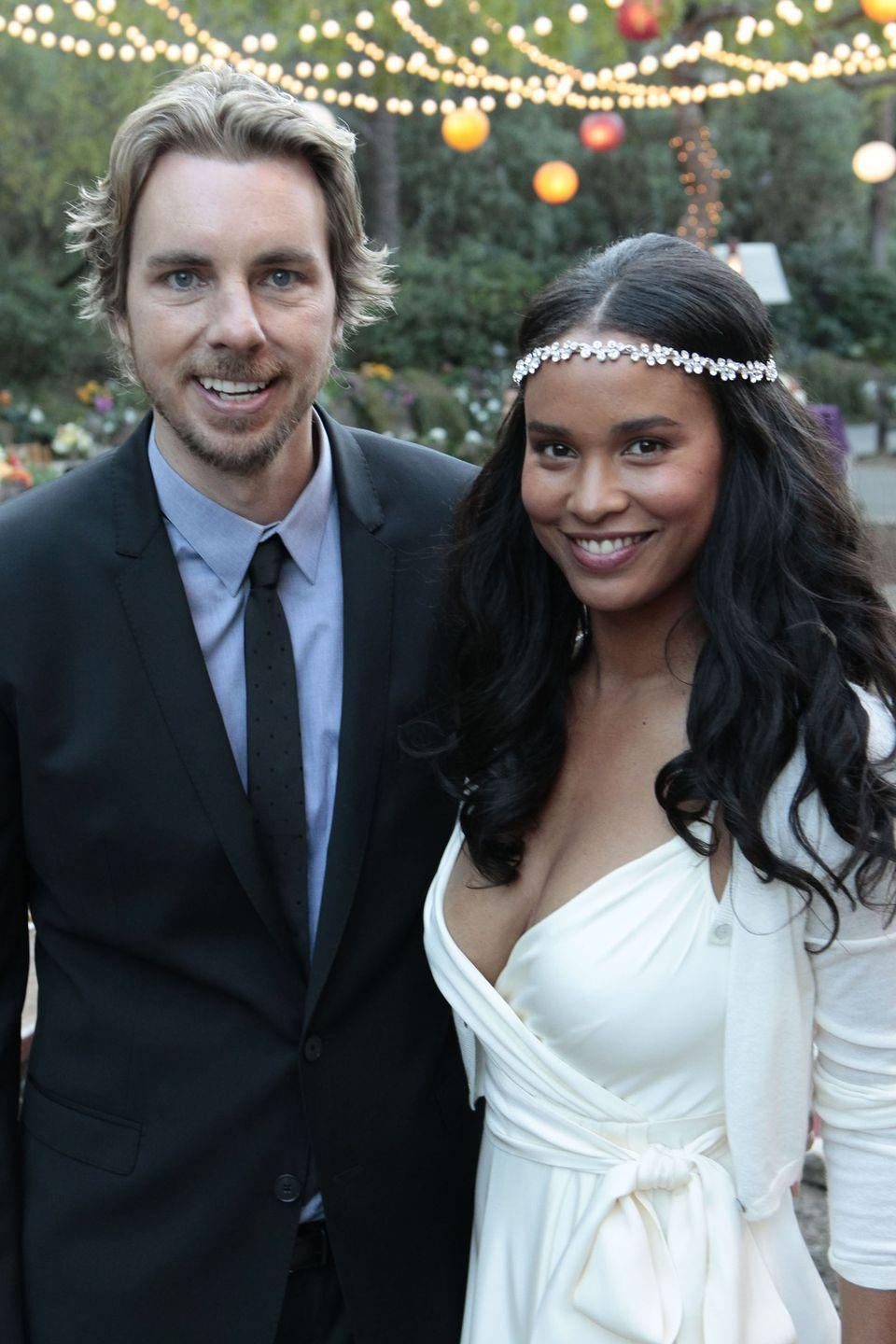 <p>Jasmine married Crosby in the season 3 finale of <em>Parenthood </em>in a pretty outside ceremony complete with twinkling string lights. The bride wore a floral headband over her loose waves and chose a white wrap dress for the big day. </p>
