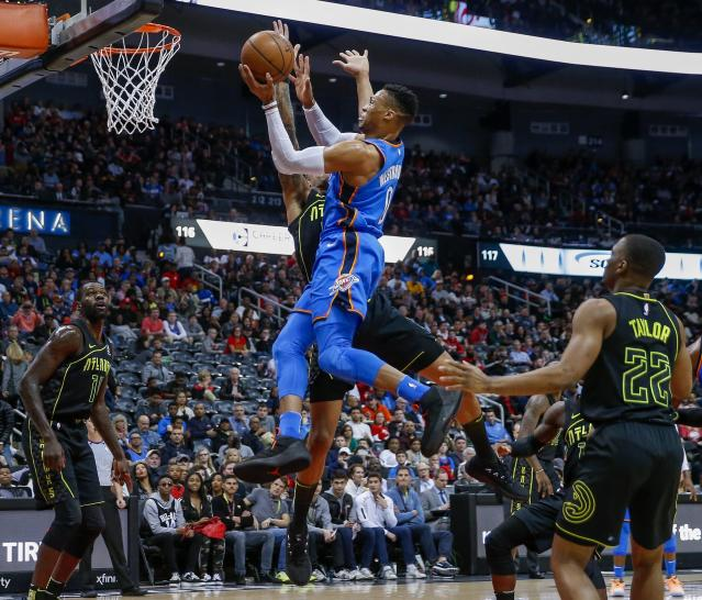 Russell Westbrook, living in midair. (AP)