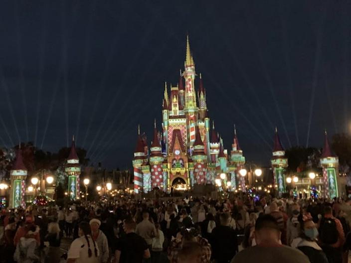 Magic Kingdom guests in front of Cinderella's castle