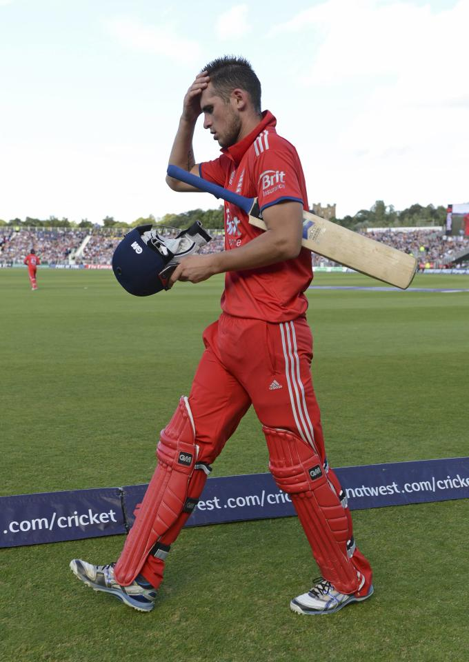 England's Alex Hales leaves the field after being dismissed during the second T20 international against Australia at the Riverside cricket ground in Chester-le-Street, near Durham, August 31, 2013. REUTERS/Philip Brown (BRITAIN - Tags: SPORT CRICKET)