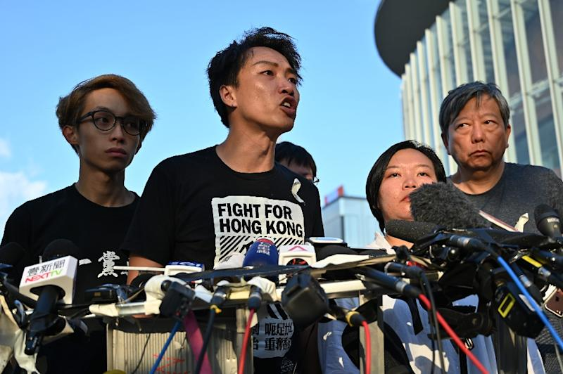 Hong Kong activist Jimmy Sham likened chief executive Carrie Lam's offer to a 'knife' that had been plunged into the city (AFP Photo/HECTOR RETAMAL)