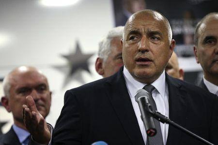 Former Bulgarian prime minister and  leader of centre-right GERB party Boiko Borisov speaks during a news conference at the party's headquarters in Sofia