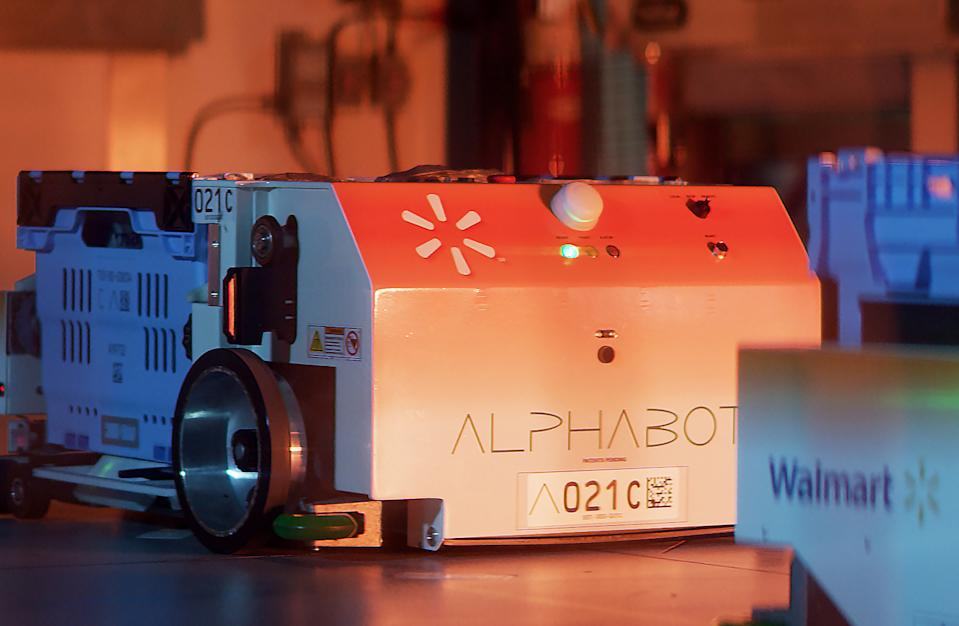 Walmart worked exclusively with Alert Innovation to deploy its AlphaBot at its supercenter in Salem, NH.