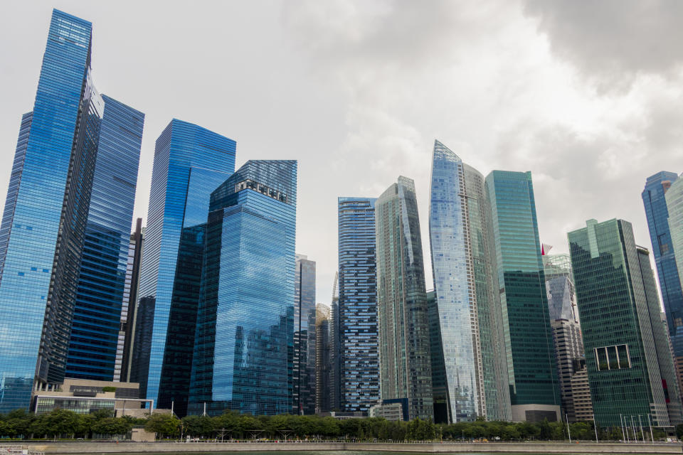 Downtown Core centre business district of Singapore. Skyscrapers and cityscape. Panorama