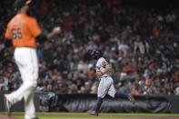 Houston Astros' Jose Altuve runs the bases after hitting a grand slam off San Francisco Giants relief pitcher Jay Jackson (65) during the sixth inning of a baseball game Friday, July 30, 2021, in San Francisco. (AP Photo/Tony Avelar)