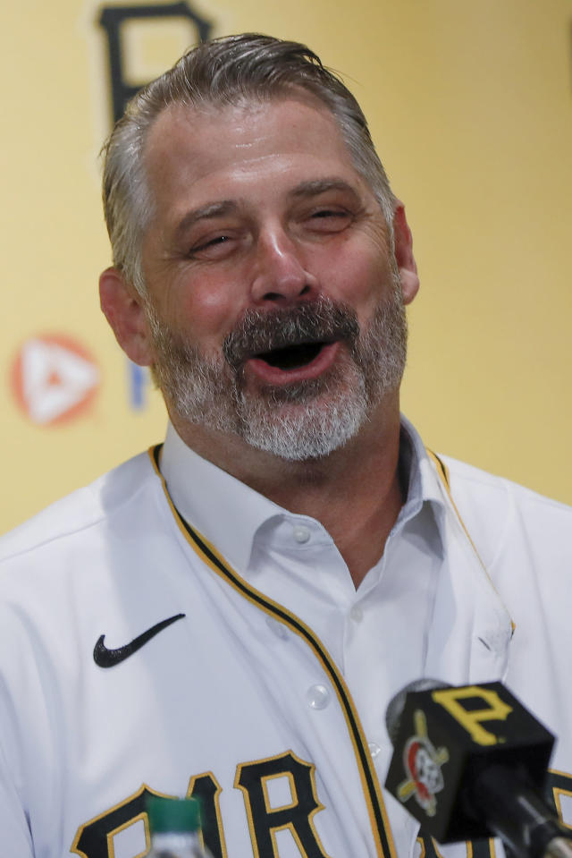 Derek Shelton laughs as he answers questions at a news conference where he was introduced as the new manager of the Pittsburgh Pirates baseball team , Wednesday, Dec. 4, 2019, in Pittsburgh. (AP Photo/Keith Srakocic)