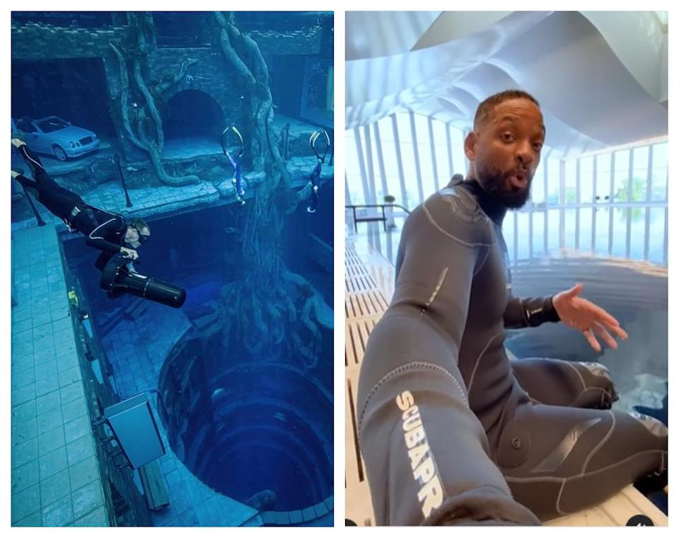 Will Smith (right) who visited Deep Dive Dubai called it an insane experience. — Picture via Facebook/DeepDiveDubai, willsmith