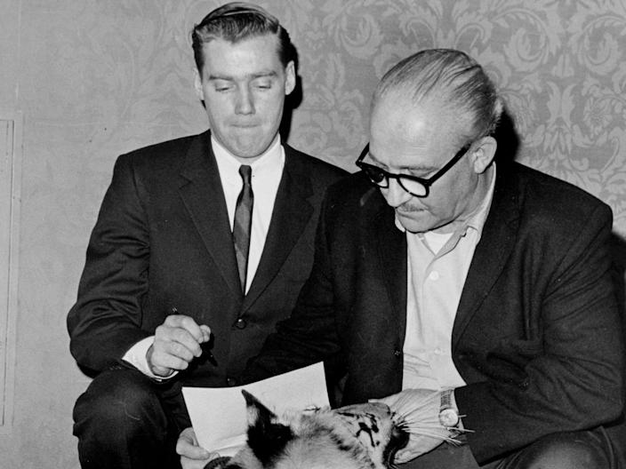 Mary Trump's father Fred Jr. (left) and Murray Zaret, producer of the Pet Festival and Animal Husbandry Exposition, in March 1966.