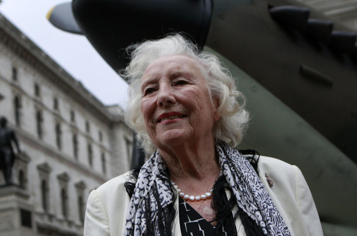 FILE - In this Friday Aug. 20, 2010 file photo, Dame Vera Lynn attends a ceremony to mark the 70th anniversary of the Battle of Britain. in central London. Britain has taken a nostalgic trip into the past on Monday March 20, 2017, to celebrate the 100th birthday of patriotic songstress Vera Lynn by projecting her image onto the white cliffs of Dover. (AP Photo/Lefteris Pitarakis, File)