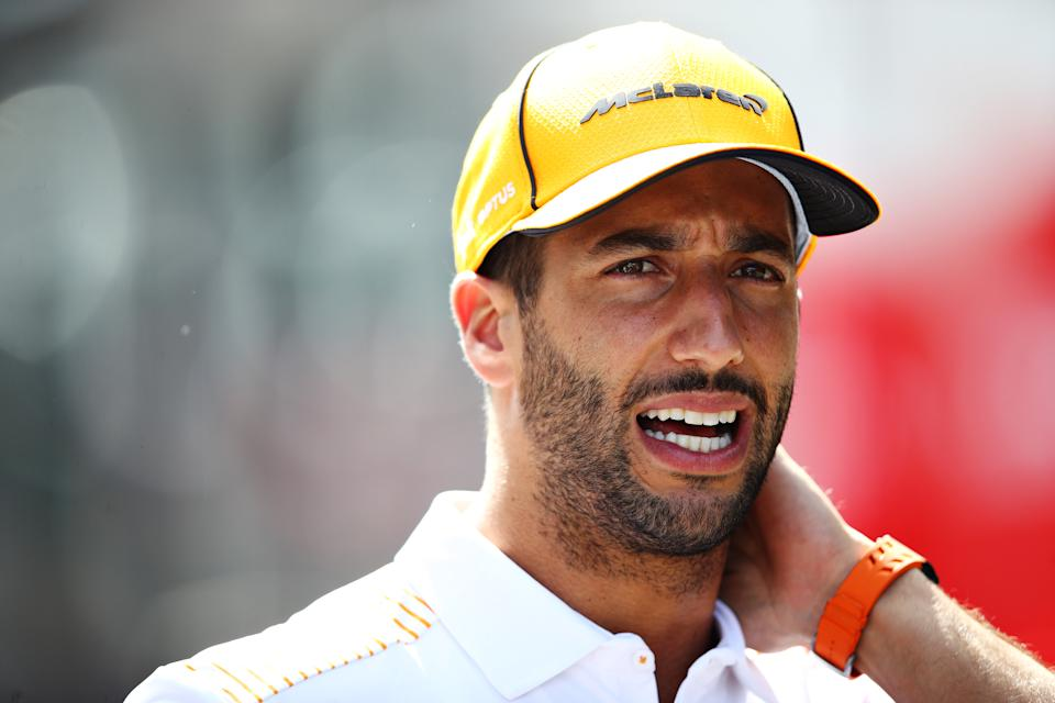 SPIELBERG, AUSTRIA - JUNE 24: Daniel Ricciardo of Australia and McLaren F1 talks to the media in the Paddock during previews ahead of the F1 Grand Prix of Styria at Red Bull Ring on June 24, 2021 in Spielberg, Austria. (Photo by Mark Thompson/Getty Images)