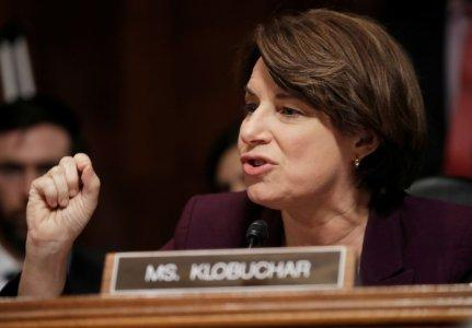 FILE PHOTO - U.S. Senator Amy Klobuchar (D-MN) speaks during a Senate Judiciary Committee meeting to vote on the nomination of Judge Brett Kavanaugh to be a U.S. Supreme Court associate justice on Capitol Hill in Washington, U.S., September 28, 2018. REUTERS/Jim Bourg