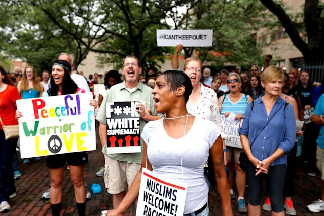 <p>Counter protesters gather in Roxbury before marching to a planned 'Free Speech Rally' on Boston Common on August 19, 2017 in Boston, Massachusetts. Thousands of demonstrators and counter-protestors are expected at Boston Common where the Boston Free Speech Rally is being held. (Photo: Scott Eisen/Getty Images) </p>