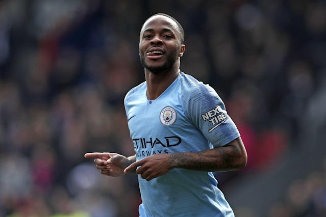 Raheem Sterling celebrated after putting Manchester City 2-0 ahead. (Credit: Getty Images)