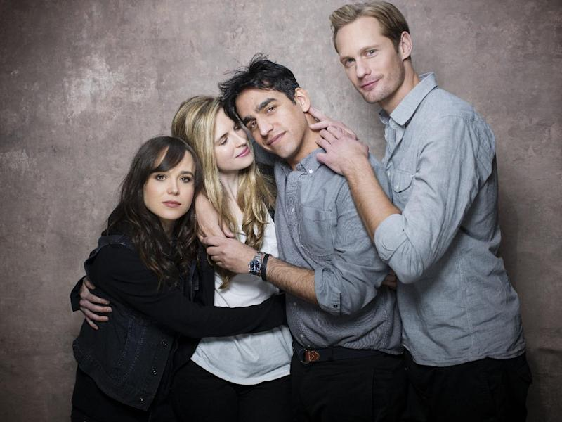 """From left, actresses Ellen Page, Brit Marling, director Zal Batmanglij and actor Alexander Skarsgard, from the film """"The East"""" pose for a portrait during the 2013 Sundance Film Festival on Sunday, Jan. 20, 2013 in Park City, Utah. (Photo by Victoria Will/Invision/AP Images)"""