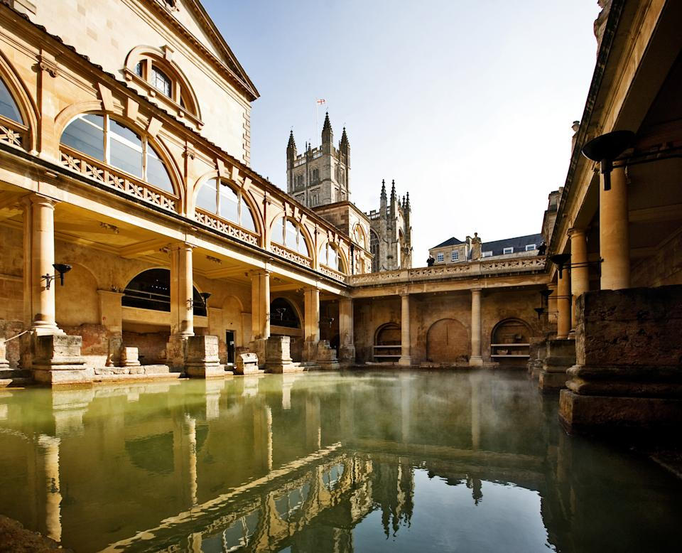 The beautifully-preserved Roman baths in the aptly named city of Bath (Getty Images)