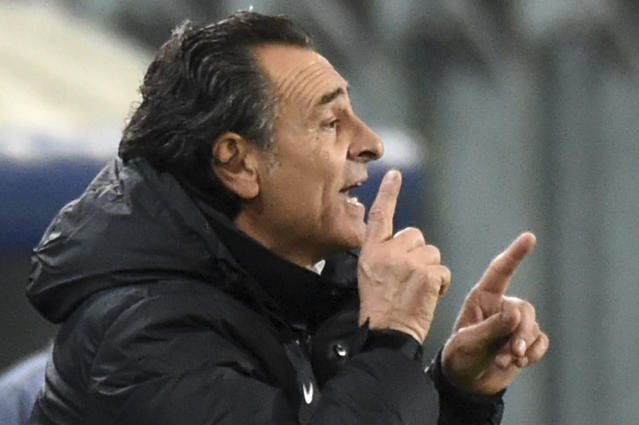 FILE - In this Nov. 26, 2014 file photo, Galatasaray's head coach Cesare Prandelli gives directions to his players during the Group D Champions League match between Anderlecht and Galatasaray at Constant Vanden Stock Stadium in Brussels, Belgium. Genoa announced on Friday, Dec. 7, 2018 that it has appointed former Italy manager Cesare Prandelli as its new coach, replacing Ivan Juric, who was sacked by the club for a third time following bad results. (AP Photo/Geert Vanden Wijngaert, file)