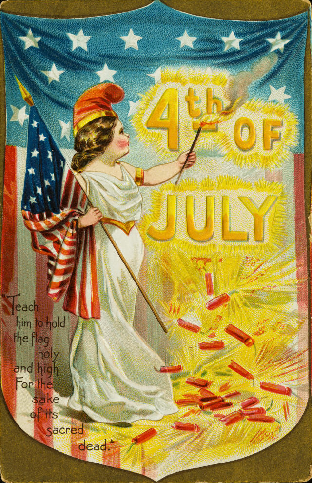 "<p>""4th of July. Teach him to hold the flag holy and high for the sake of its sacred dead."" Vintage postcard. (Photo: Rykoff Collection/Corbis via Getty Images) </p>"