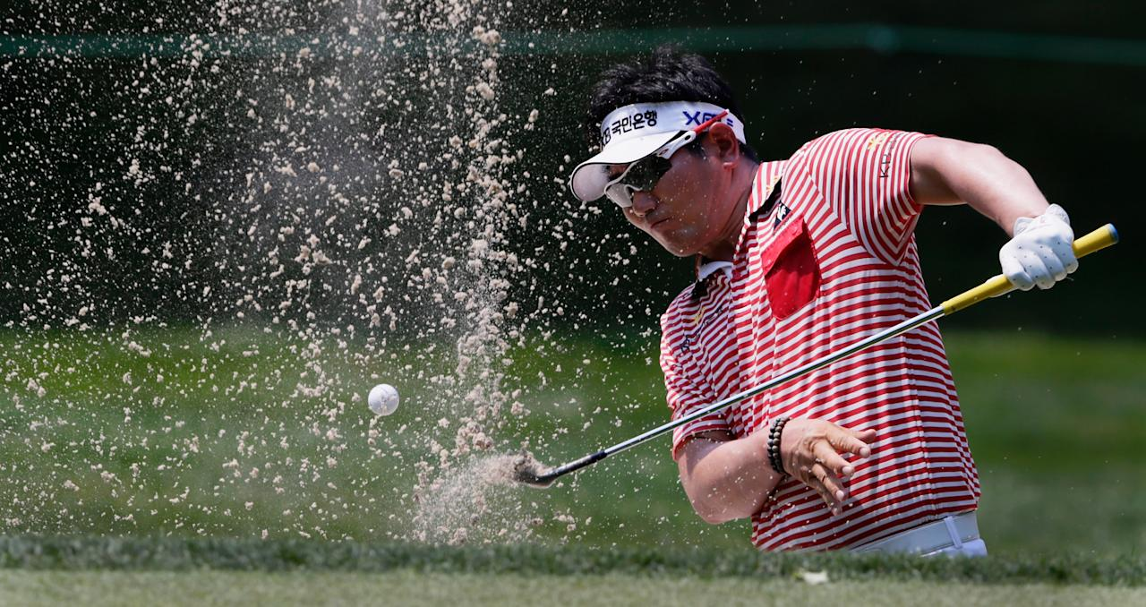 BETHESDA, MD - JUNE 29: Y.E. Yang of South Korea hits from the bunker on the 13th hole during Round Two of the AT&T National at Congressional Country Club on June 29, 2012 in Bethesda, Maryland.  (Photo by Rob Carr/Getty Images)
