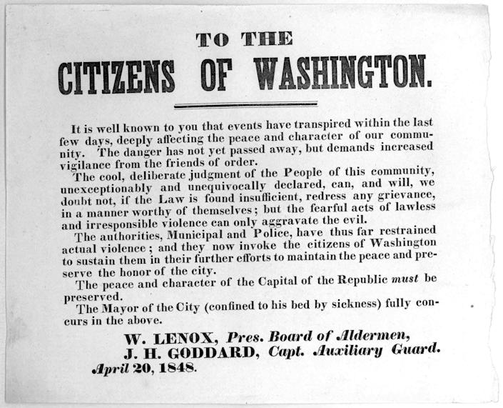 A poster, issued after the Pearl's capture, warning citizens of Washington, D.C., not to riot.