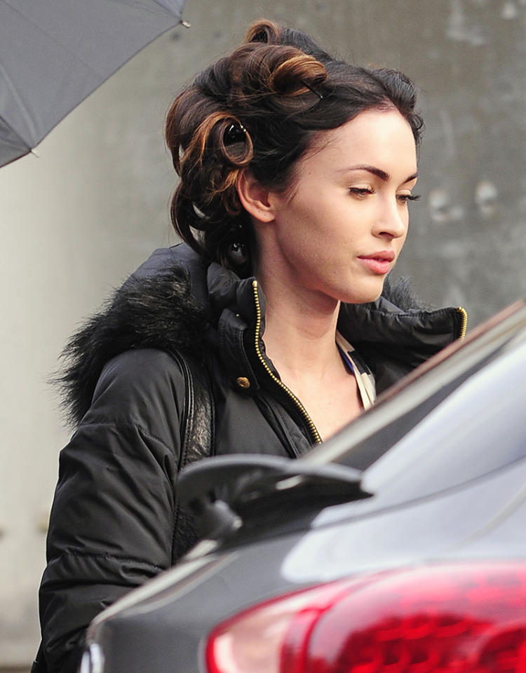 Megan Fox seen coming out of the make-up trailer at the Friends with Kids film set in the Bronx in New York City.