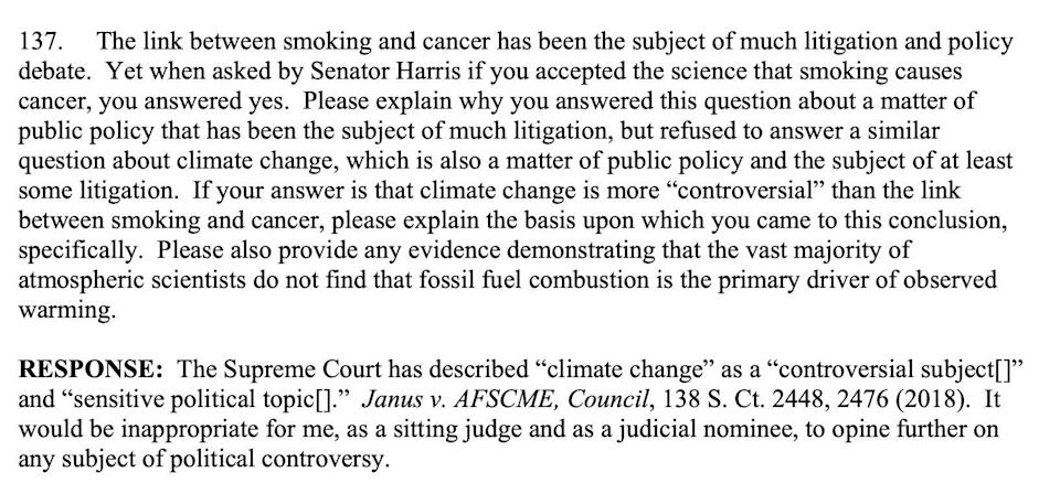 "Amy Coney Barrett cited climate change as a ""controversial subject"" and ""sensitive political topic"" in her refusal to say whether it exists. (Senate Judiciary Committee)"