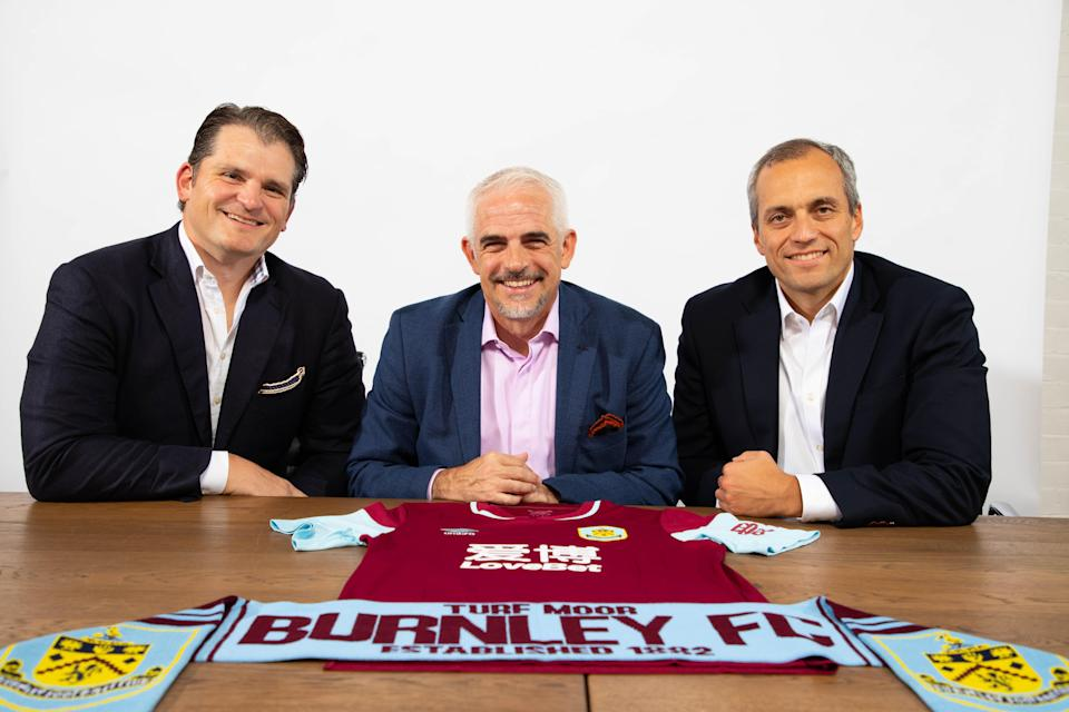 New Burnley chairman Alan Pace (centre) with ALK Capital partners Mike Smith (left) and Stuart Hunt (Burnley FC Handout/PA)