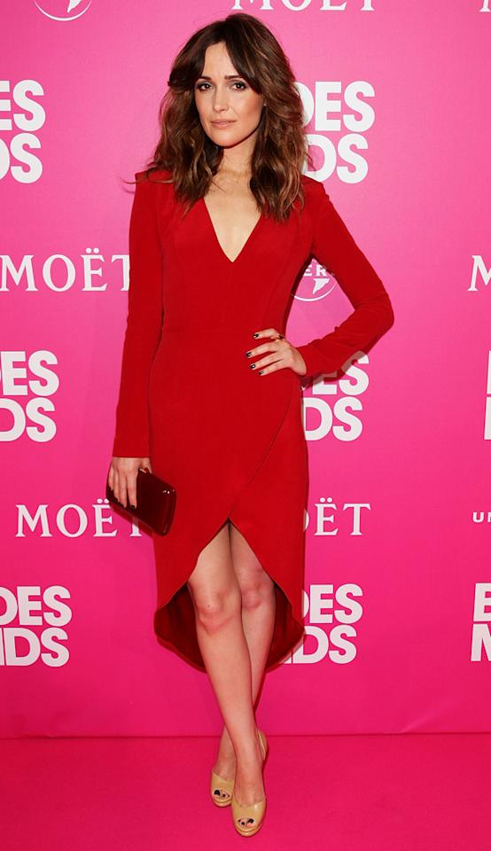 """Also looking lovely in the shade was """"Bridesmaids"""" beauty Rose Byrne, who arrived at film's Australian premiere in a super sexy, long-sleeved Christian Cota Fall 2011 dress, dark nails, and nude peep-toes. Lisa Maree Williams/<a href=""""http://www.gettyimages.com/"""" target=""""new"""">GettyImages.com</a> - June 14, 2011"""