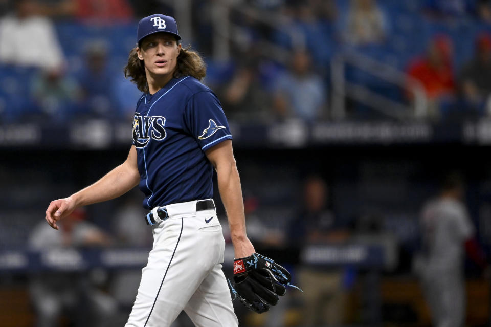 ST PETERSBURG, FLORIDA - JUNE 08: Tyler Glasnow #20 of the Tampa Bay Rays looks on during the first inning against the Washington Nationals at Tropicana Field on June 08, 2021 in St Petersburg, Florida. (Photo by Douglas P. DeFelice/Getty Images)