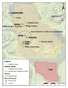 Eagle Mountain Property in relation to NW-trending gold mineralization within the Cassiar Gold District.