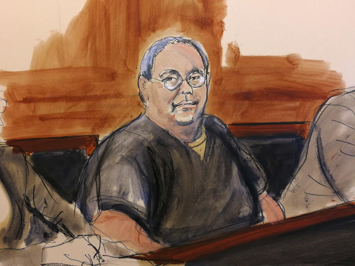 In this courtroom sketch, Patrick Ho attends his bail hearing in a New York court on Feb. 5. U.S. District Judge Katherine B. Forrest, who set the trial for November, rejected his bail request, saying he was too great a risk to flee. (Photo: Elizabeth Williams via AP)