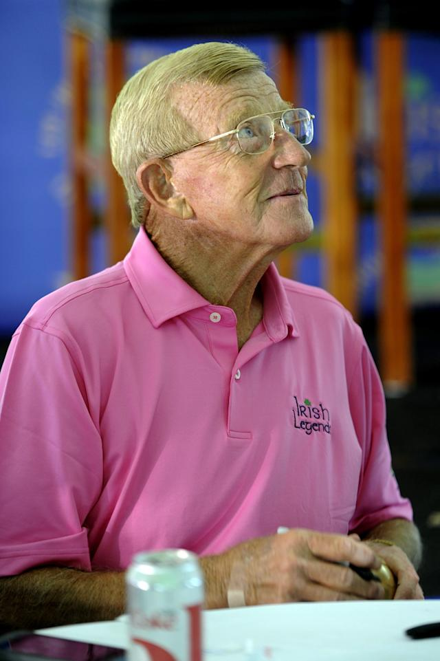 Former Notre Dame football coach Lou Holtz talks with golfers at the Legends golf outing in Bridgman, Mi. Tuesday June 12, 2013. (AP Photo/Joe Raymond)