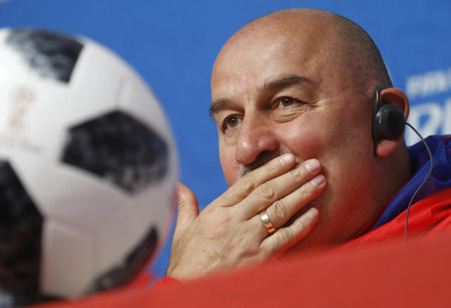 Russia head coach Stanislav Cherchesov attends a news conference on the eve of the group A match between Russia and Egypt at the 2018 soccer World Cup in the St. Petersburg stadium in St. Petersburg, Russia, Monday, June 18, 2018. (AP Photo/Dmitri Lovetsky)