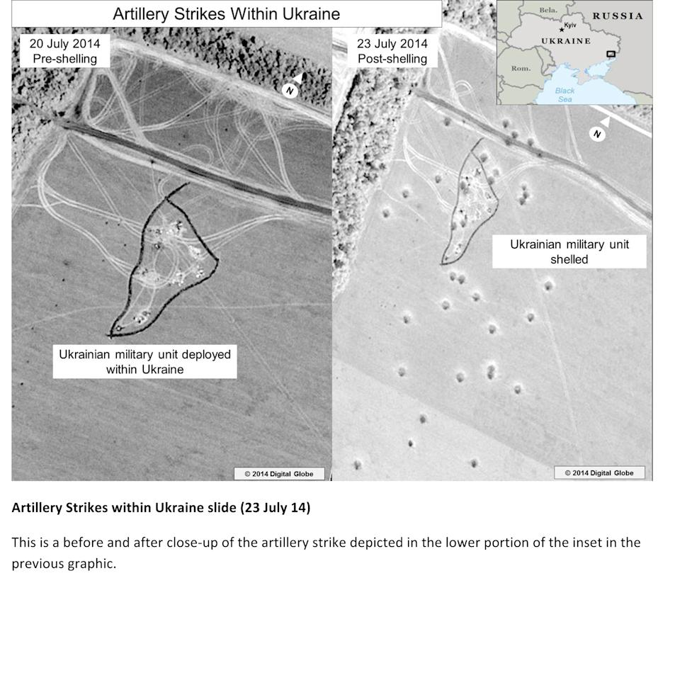 This third page of a four page document released by the U.S. State Department in Washington, July 27, 2014, shows a satellite image that purports to shows a before and after close-up of the artillery strike depicted in the lower portion of the inset in the previous graphic. The United States says the images back up its claims that rockets have been fired from Russia into eastern Ukraine and heavy artillery for separatists has also crossed the border. (AP Photo/U.S. State Department)