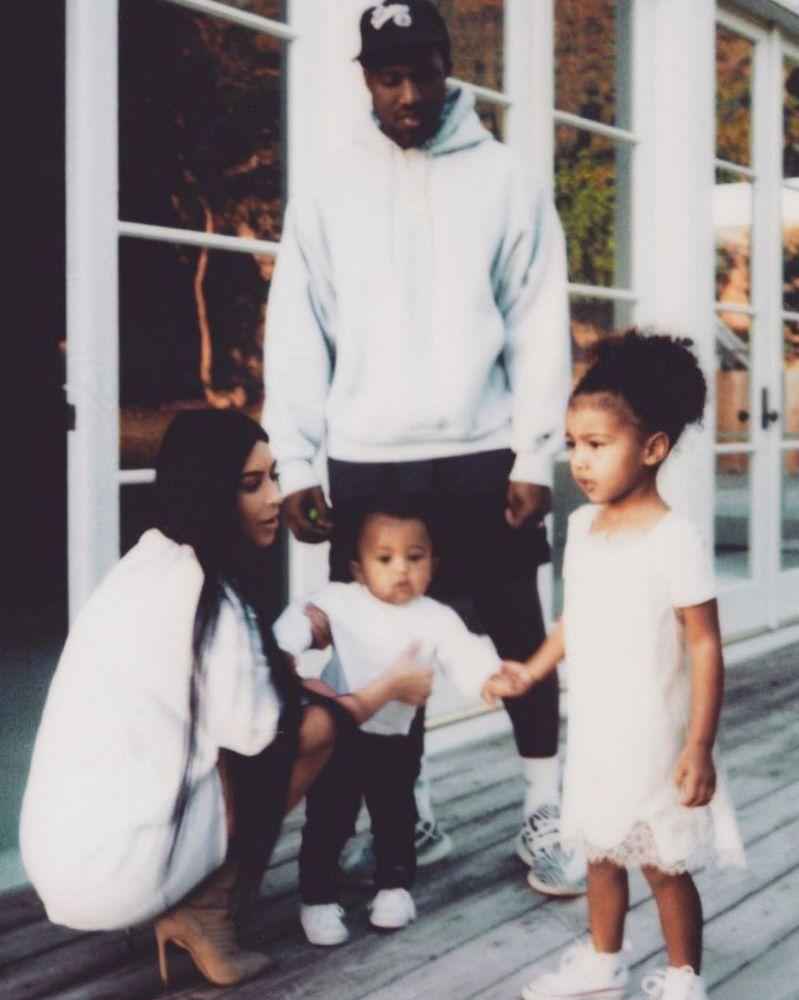 Kim Kardashian West, Kanye West, son Saint and daughter North